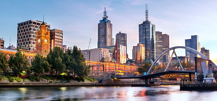 Melbourne city skyline in the morning