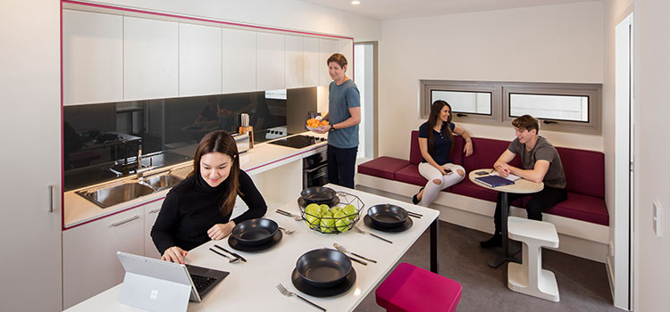 Shared kitchen at Student One accommodation in Brisbane