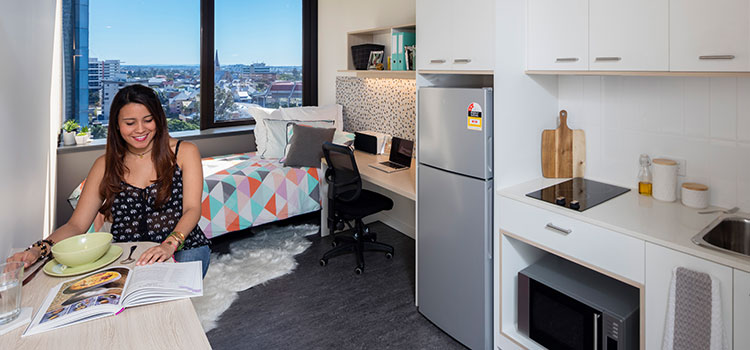 Studio apartment at Student One accommodation Brisbane