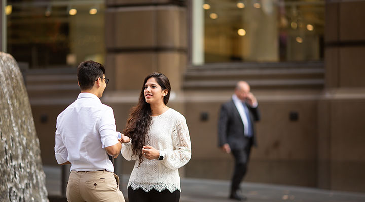 Two students talking in Sydney