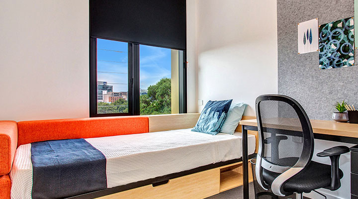 Student bedroom at accommodation in Melbourne