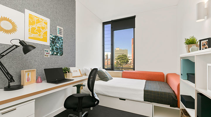 Student bedroom at accommodation in Sydney